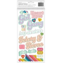 Pink Paislee Thickers Stickers 5.5X11 2/Pkg - Wild Child Girl Power Phrases UTG