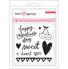 Crate Paper Small Clear Stamps 4.8X6.7 8/Pkg - Main Squeeze Hearts & Words