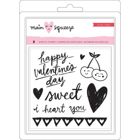 Crate Paper Clear Stamps 4.8X6.7 8/Pkg - Main Squeeze Hearts & Words UTGÅENDE