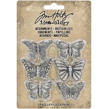 Tim Holtz Idea-Ology Metal Adornments 1in 6/Pkg - Butterflies