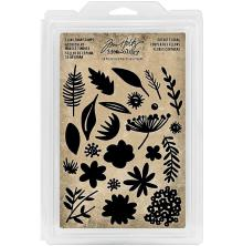 Tim Holtz Idea-Ology Cling Foam Stamps 24/Pkg - Cutout Floral