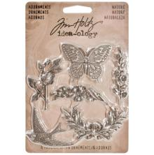 Tim Holtz Idea-Ology Metal Adornments 1.125 6/Pkg - Antique Nickel Nature