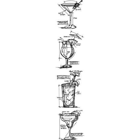 Tim Holtz Mini Blueprints Strip Cling Stamps 3X10 - Cocktails