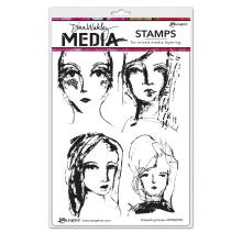 Dina Wakley Media Cling Stamps 6X9 - Interesting Faces