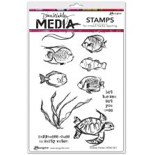 Dina Wakley Media Cling Stamps 6X9 - Scribbly Fishes