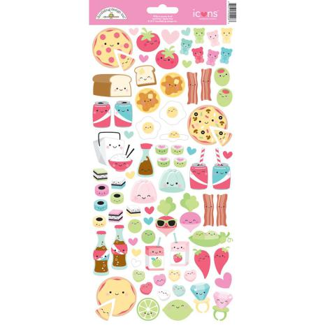 Doodlebug So Punny Cardstock Stickers 6X13 - Food Icons