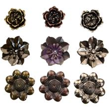 Prima Finnabair Mechanicals Metal Embellishments 9/Pkg - Flowers