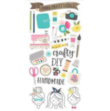 Simple Stories Chipboard Stickers 6X12 - Crafty Girl