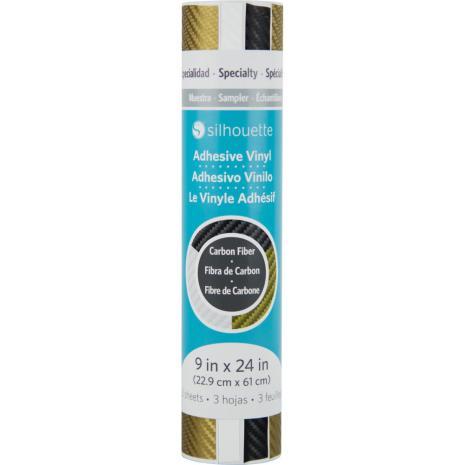 Silhouette Carbon Fiber Vinyl Sampler Pack 9X24 - Gold, White & Black