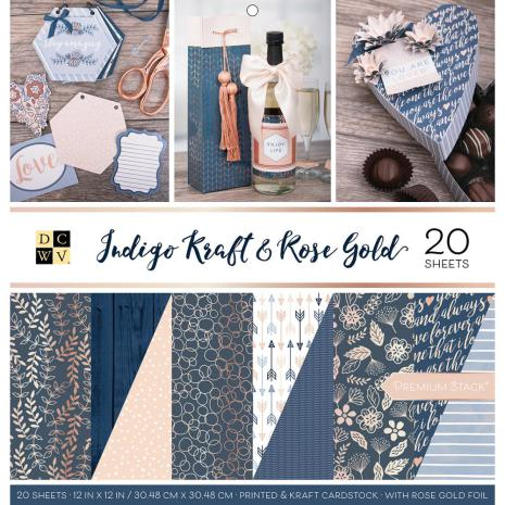 Die Cuts With A View Double-Sided Cardst 12X12 20/Pkg-Indigo Kraft & Rose Gold