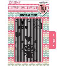 Uchi´s Animation Clear Stamps & Grid Set - Loving Cat UTGÅENDE