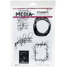 Dina Wakley Media Cling Stamps 6X9 - Scribbled Text Elements