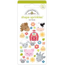 Doodlebug Sprinkles Adhesive Glossy Enamel Shapes 31/Pkg - Farm Friends