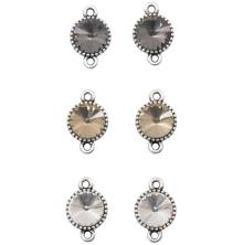 Tim Hotlz Assemblage Links 6/Pkg - Round Faceted Crystal