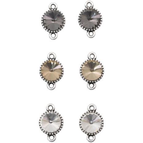 Tim Hotlz Assemblage Links 6/Pkg - Round Faceted Crystal