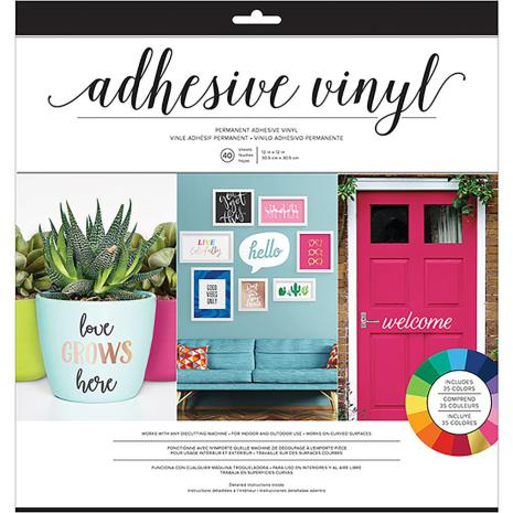 American Crafts Adhesive Vinyl Combo Pack 12X12 40/Pkg - Bright Solid Colors