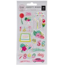 Pink Paislee Puffy Stickers - Confetti Wishes Icons & Phrases UTGÅENDE