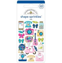 Doodlebug Sprinkles Adhesive Glossy Enamel Shapes 26/Pkg - Hello