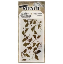 Tim Holtz Layered Stencil 4.125X8.5 - Holly Bough