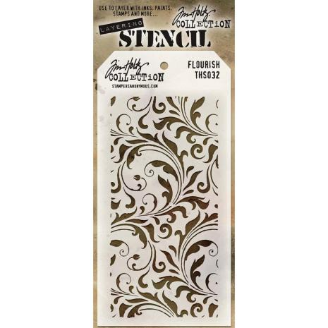 Tim Holtz Layered Stencil 4.125X8.5 - Flourish