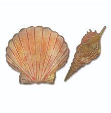 Tim Holtz Sizzix Bigz Die w/Texture Fades Embossing Folder - Seashells UTGÅENDE