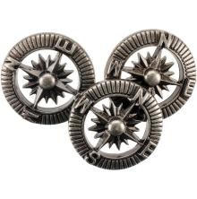 Blumenthal Steampunk Buttons 9/Pkg - Antique Silver Compass