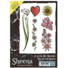 Sheena Douglass A Little Bit Sketchy A6 Stamp Set - Florals and Hearts UTGÅENDE