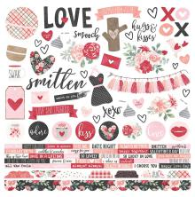 Simple Stories Kissing Booth Cardstock Stickers 12X12 - Combo