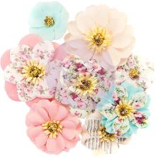 Prima Misty Rose Fabric Flowers 8/Pkg - Earleen UTGÅENDE