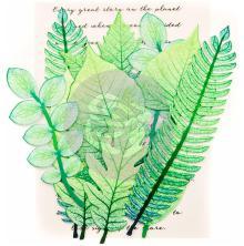 Prima Printed Fabric Leaf Embellishments 12/Pkg - Mountain Pine