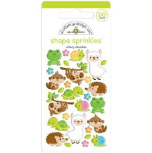 Doodlebug Sprinkles Adhesive Glossy Enamel Shapes 28/Pkg - Otterly Adorable