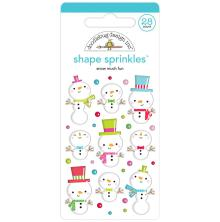 Doodlebug Sprinkles Adhesive Glossy Enamel Shapes 28/Pkg - Snow Much Fun
