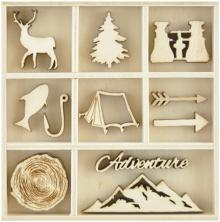 Kaisercraft Themed Mini Wooden Flourishes 55/Pkg - Adventurer