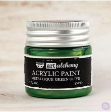 Prima Finnabair Art Alchemy Acrylic Paint 50ml - Metallique Green Olive