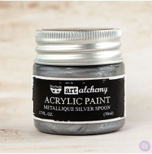 Prima Finnabair Art Alchemy Acrylic Paint 50ml - Metallique Silver Spoon