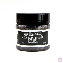 Prima Finnabair Art Alchemy Acrylic Paint 50ml - Sparks Raven Black