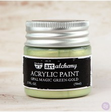 Prima Finnabair Art Alchemy Acrylic Paint 50ml - Opal Magic Green-Gold