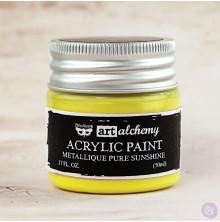 Prima Finnabair Art Alchemy Acrylic Paint 50ml - Metallique Pure Sunshine