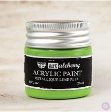 Prima Finnabair Art Alchemy Acrylic Paint 50ml - Metallique Lime Peel