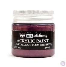 Prima Finnabair Art Alchemy Acrylic Paint 50ml - Metallique Plum Preserves