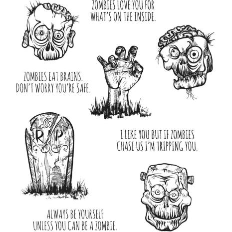 Tim Holtz Cling Stamps 7X8.5 - Zombies