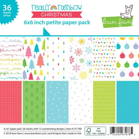 Lawn Fawn Single-Sided Petite Paper Pack 6X6 36/Pkg - Really Rainbow Christmas