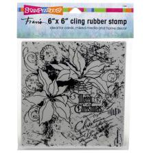 Stampendous Cling Stamp 6x6 - Poinsettia Collage