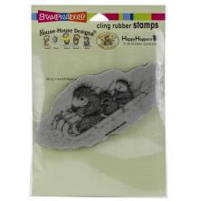 Stampendous House Mouse Cling Stamp - Peppermint Sledding