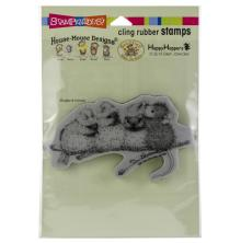 Stampendous House Mouse Cling Stamp - Santa Hat Birds