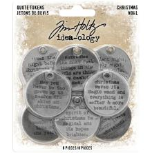 Tim Holtz Idea-Ology Metal Quote Tokens 8/Pkg - Christmas