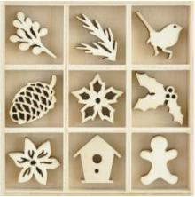 Kaisercraft Themed Mini Wooden Flourishes 45/Pkg - Festive Foliage UTGÅENDE
