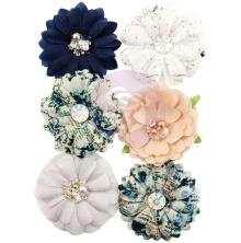 Prima Georgia Blues Fabric Flowers 6/Pkg - Augusta UTGÅENDE