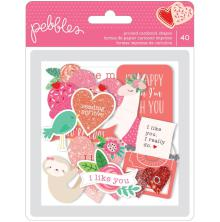 Pebbles Ephemera Cardstock Die-Cuts 40/Pkg - Loves Me