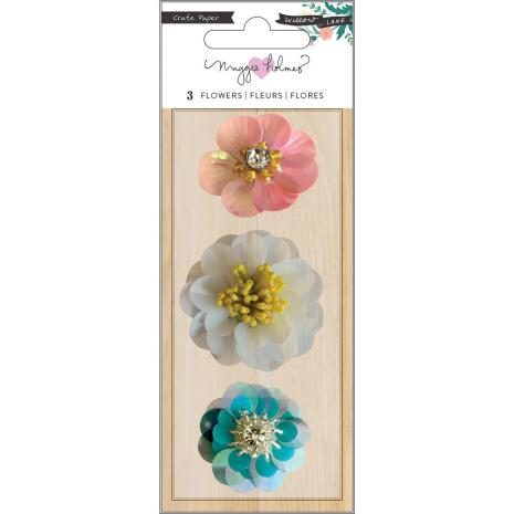 Maggie Holmes Sequin Flowers 3/Pkg - Willow Lane